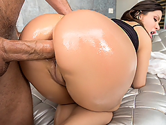 Don't settle for second-best! Get a load of Aleksa Nicole's beautiful latina booty, a big juicy butt with enough meat to satisfy the horniest ass-man on the planet. Aleksa showed up on set ready to shake her thick butt for your pleasure and get reamed out by the fattest toys in our collection. With the camera rolling, Tony and his hired gun tested the limits of Aleksa's asshole with four fingers, and then a big fat butt-plug, and made sure that booty was warmed up for the main course, a hard anal fuck! Watch how eagerly Aleksa bounced her tight asshole on that boner until she came hard from the pleasure of back-door banging!
