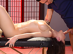 When you've got a body like Molly Jane, it's not hard to get what you want. So when she walks into the massage parlor and strips out of her white panties, big natural tits peeking out through her sheer top, masseur Ike Diezel knows exactly what this lovely lady is looking for... a big cock in her mouth! He fucks her pretty face and then eats her pink pussy until it's dripping wet and ready to get fucked. Molly takes that big cock until she cums all over Ike's shaft, then strokes his cock until she gets a mouthful of cum!
