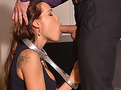 In this intense roleplay, beautiful Satin Bloom portrays a prostitute who is being given lessons in total submission by her pimp, played by Cage. After speaking to her harshly at the beginning of this Full HD BDSM fetish XXX video, Cage returns with a metal neck clamp which restrains Satin's hands and wrists so that he may more effectively steer her to absolute surrender. After laying her on her side and spanking her ass, Cage then uses her mouth to lubricate a black plug which he crams into her bottom. Then he makes her squat over on the couch and suck his cock as the extreme sex ramps up. Shifting her to the floor, he has her kneel before his ruthless rod and even pinches her nose to encourage her to give him the worshipful blowjob he requires, and this makes Satin's eyes bulge in surprise. After this, he bends her over on the couch again and spanks her ass some more. For the final act of this first part of her disciplinary lessons, Cage strips Satin down to just her sheer black stockings and heels, and then has her kneel on the floor and kiss and lick his brown shoes...