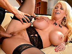 Xander's never been a huge fan of his mother-in-law, because of the smart mouth she's had since her divorce. To stop Alura Jenson walking around the house criticizing his lifestyle and chirping his manhood, Xander decided to shut that Milf's yap by stuffing a cock down her throat. With Alura goading him on to fuck her mouth and choke her with his boner, Xander rammed his member inside her to the hilt. After titfucking and motorboating Alura's massive melons, Xander flipped Alura over and started beasting her pussy from behind. By their end of their intense fuck session, Alura was sweet as pie, and ready to do whatever her son-in-law wanted.