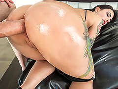 Dollie Darko has a big juicy ass and some huge fake tits, which makes her perfect for Danny D's fat dick. After teasing the camera with her wet booty and insane curves, she takes a huge dildo deep in her tight asshole to get herself warmed up for Danny D's big dick. She sucks and slobbers on his huge cock to get it hard enough for her hungry asshole, and then spreads her thick ass cheeks for some insane gape action. Danny pounds each and every one of this curvy chick's holes, and then finally busts a huge nut all over her face!