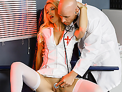 The naughtiest nurse on the night shift is back for more dick-swallowing debauchery, but this time it's at the hands of hunky Doctor Sins! When the Doc caught her fucking one of the patients on his floor, he pulled her into his office to wait for the cops. But nurse Laura Bentley had another idea in mind... seducing the Doc in the office and walking out of the hospital with his gooey facial still on her lips! To get him to put the phone down, Laura spread her legs to tease the doctor with a look at her shaved pussy. Laura got her wish when Dr. Sins gave her his stiff cock to play with, and she eagerly sucked and gagged on his prick, before rolling upside down and letting him mouth-fuck her. Laura's long night of lust continued as she begged the Doc to treat her like a slut and fuck her hard as he could on his desk!