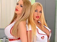 When well-endowed nurses Kyra Hot and Anastasia Sweet examine each other in their new big tits porn video, you know the prescription is going to be pleasure! The stethoscope is applied to all the important spots, cleavage, bare boobs, and butts, and then these busty pornstars determine their diagnosis, extreme horniness, and dispense with the exam to get down to the carnal cure! Titty-licking, boob-snuggling, nipple-licking and tweaking, yes, these nurses enjoy themselves thoroughly as they move out of their uniforms for greater ease in cuddling, squeezing, and leaving lipstick all over tasty nips! Enjoy these blondies as they feast on each other's floppers!