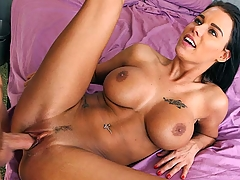 Peta Jensen just can't get enough... Peta is a sexy chick with huge tits, a fat booty, as well as a tight motherfucking pussy. After playing with a dildo for a bit, Peta decides it's time to bring on the real deal. Our stud pounds Peta's tight pussy until busting a load. Enjoy as Peta Jensen satisfies her creampie craving!