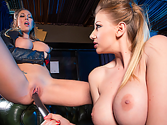 These mean streets have two bodacious blonde superheroes defending the people against the terror that awaits them, but Nite-Fox (a.k.a. Danielle Maye) and Lupus (a.k.a. Lexi Lowe) can't seem to get along. Facing the dreaded Union Jack, these two big-titted Brits battle for the chance to make the final blow. Their fighting soon turns to fucking as they strip down to their boots, get nice and wet, and scissor like two lesbian sluts. In need of some penetration, Lupus grabs a long pole, shoves one end up Nite-Fox's tight twat, and rides the other end with her own wet pussy. These two badasses finally set aside their differences, working together to achieve mind-blowing orgasms, the likes of which have never been seen before...