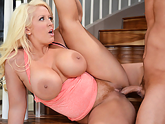 It's time for Van to stop being a couch potato and get some fresh air with his stepmom Alura Jenson. They go out for a jog, and Alura instantly out-runs her stepson, but can she out-fuck him? This thick, blonde, household matriarch takes Van right there on the stairs, demanding a face fuck, and challenging him to live up to her erotic expectations. With her juicy thighs stretched wide apart, Alura squats down on her good-for-nothing stepson's dick and rides it fast and hard, then grabs his cock and jerks it until he cums all over her big fake tits. Watch this monument to MILFs everywhere teach Van a thing or two about how to treat a lady, and remind us all of the golden days when women were built like women!