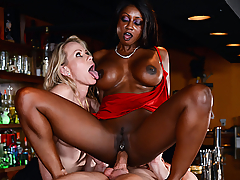 Diamond Jackson is a newly divorced milf who's eager to find a young, thick cock to fuck. So she drags her married friend Simone Sonay to a bar to help her pick up guys. With none in sight, Diamond is getting hornier by the minute. So when Simone steps out to call her husband, Diamond quickly seduces the bartender. She slurps and sucks on his big dick and begs him to fuck her ass, but soon Simone comes back. Diamond casually chats with her friend while the bartender sneakily slides his cock into her tight asshole. Simone realizes what's going on, and she's so offended she goes to leave, but then she gets a look at that big bartender dick and can't say no to a hot, horny threesome with her best friend.
