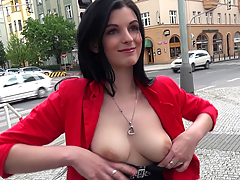 While other gals might be hesitant to strip for cash, Alice Nice bared all for just a couple Euros. She took off that sexy leopard print bra and black thong to reveal her bouncy natural titties, juicy thick booty, and perfect tight pussy.