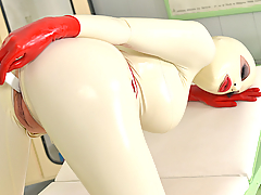 The incredibly stacked Latex Lucy is outfitted in ivory head to toe latex, a medical red cross on her waist cincher that gives her a most intensely curvy shape. She poses in a very private examination room of the Genital Hospital in her newest Full HD fetish erotic video. The hypnotic green eyes and full red lips of this remarkable babe ensnare our total attention. This British princess of kink showcases her amazing figure, curvy ass, and shapely legs on platform high heels. Her red gloved hands caress her form even as her huge tits strain against the front of her outfit. She stretches across the table. Lucy brings out a paddle and gives herself a bottom-warming through the latex. Then she undoes the zipper crotch of her outfit to expose her peach-like shaved pussy. She sticks her red-gloved fingers into the slit. But then it's time for pussy insertion with other toys, namely the handle of that paddle, as Lucy gives us a bizarre masturbation solo in the kinky clinic.