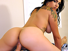 At first  Adrianna Reed played coy for her boyfriend's camera, but once she took off those tight white booty shorts, her spicy Latina side came out, as she got down to business, fucking her man 'til he jizzed all over her bouncing natural tits!