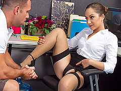 Johnny stops by to deliver water to Remy Lacroix's office. Remy has had a better offer from a different water delivery service and is thinking of switching, but Johnny is willing to do anything to keep her as a client, even it that means having to bang her on her desk!