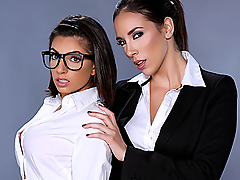 Nerdy Darcie Dolce enters a beauty boutique looking to buy herself some make-up in order to impress guys. She yearns to feel sexy and be a slut. But after catching a glimpse of herself in the mirror, she turns to leave. That is until Jelena Jensen comes to her rescue ready to help her in not only looking good but feeling hot as fuck! Jelena soon realizes just how much of a sexy slut Ms. Dolce can be, so she gives her a lesbian make-over she won't forget!