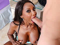 Diamond Jackson is doing some yoga in her yard when her neighbor sneaks in to watch her. He confesses that watching her do those sexy poses, turns him on. Diamond takes this as a compliment and decides to ride his big cock!