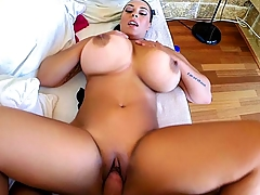 Anastasia Lux teases us with her huge natural tits before she starts masturbating while she waits for the hard cock to arrive. She ends up giving a great blowjob, then we get to see her big tits bounce while she gets fucked from various positions! She gets a huge load that she ends up swallowing.