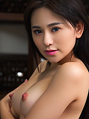 Wu Muxi exposes her perfect curves in the old library