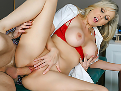 Danny D takes his girlfriend to the doctor's office for a check-up, where sexy nurse Julia Ann will perform the exam. The nurse flirts with Danny, who tries to quell his girlfriend's worries of needles. When the nurse is about to inject the needle, she passes out. Naughty nurse Julia Ann then seduces Mr. D and they fuck while his girlfriend is dosing off! This sexy nurse sure knows how to get the cock pumpin'!