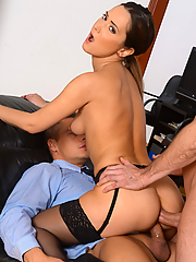 Angie Moon gets double penetrated by two throbbing cocks in the office