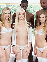 Elsa Jean shares three black cocks with Rachel James and Sydney Cole
