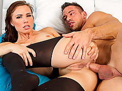 Aidra Fox plans on surprising her boyfriend with some anal sex, but decides his best friend should break her in first...