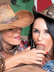 Rita Daniels and Sally D'Angelo worship a thick dick in the stable