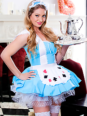 Veronica Weston sexy maid masturbates in the dining room