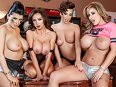 Watch everything you missed during this Halftime Fuck Fest! Nikki Benz, Romi Rain, Jada Stevens and Eva Notty took the dick live! And now for your viewing pleasure, we present the epic replay.