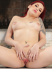 Amber Ivy fingering her asshole by the fire place