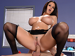 Bill Bailey is a bit shy about his big dick problem, but Dr. Ava Addams is going to take good care of him. After a quick exam, she soothes his worries with a nice blowjob. Bill has never had a woman handle his huge cock like this, but Dr. Addams is a true professional. She administers some much needed fucking and extracts his cum all over her pretty face.