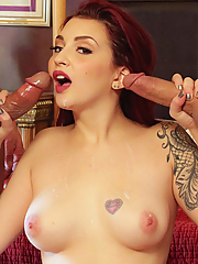 Amber Ivy gets double penetrated by two hung studs