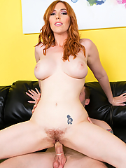 Lauren Phillips rides throbbing cock until he jizzes all over her pretty face