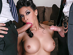 International fugitive Rachel Starr believes she has finally escaped the authorities. Her new found suburban life is interrupted however when federal agents Charles Dera and Keiran Lee show up at her door. It doesn't take a clever cat like Rachel to realize that she is dealing with a pair of dimwits. Using her sexy body to manipulate the two federal fuckboys, Rachel is willing to do whatever it takes to escape, even if it means fucking Keiran and Charles!
