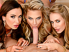 Nicole Aniston, Nikki Benz, and Phoenix Marie are ready to go out for a girl's day of pampering, but Nicole's boyfriend insisted on joining them. Nikki and Phoenix aren't really fond of her boyfriend though, that is until he shows them what he can do with his tongue...