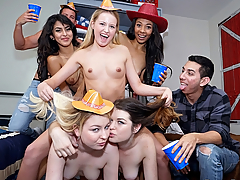 In this latest submission of DareDorm, we have a hoedown of epic proportions. This was a western themed lickapalooza featuring Anastasia Rose, Scarlett Sage, Sophie Sativa, Sophia Leone, Penny Hart, Nia Nixon, and a few friends, just baring it all and licking each other to their heart's content. Titties and ass of all shapes, colors and sizes are all displayed here. It's a beautiful thing!