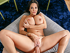 Ava Addams is looking hot for her yoga class and is trying to motivate her husband to do some chores around the house. Once her massive tits come out, he can't resist fucking them.