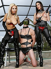 Dava Foxx and Kylie Rogue dominate their male slave