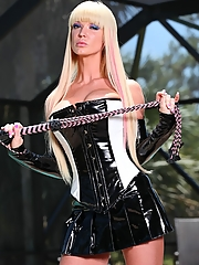 Alexia Jordon with a slave on a leash