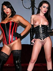 Adriana Lynn and Mia Li dominate two slave men by mounting them like horses