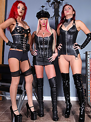 Mistresses Alexia Jordon, Amadahy and Mistrix dominate in black latex