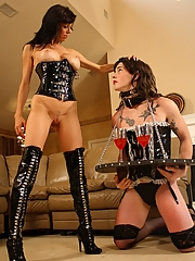 Alexis Fawx domitaes her crossdressed sissy slave