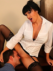 Angie Noir and her whip make him worship her