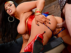 Diane Princess (Romi Rain) has been living in Man's World for quite some time. She's decided to live as a civilian and keeps her superhero identity a secret. But when a strange visitor from her past arrives to bring Diana back to the Amazon, she has no choice but to transform into Wonder Woman and fight for justice, peace, love... and a big cock for this horny slut to suck and fuck!
