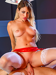 Kissa Sins naughty nurse bangs the doctor in the operating room