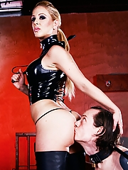 Mistress Cherie DeVille enjoys some ass worship from her grovelling slave