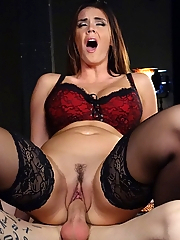 Mistress Alison Tyler takes her sex slave out of his cage and uses him for an orgasm