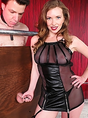Mistress T milks her slave, then makes him eat his own cum as she laughs at his humiliation.