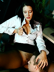 Office bitch Kimberly Kane makes him worship her