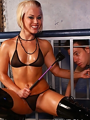 Ash Hollywood dominates her caged slave