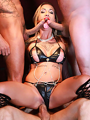 Chantelle Fox gets banged in all holes by three hung studs