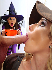 Cory Chase and Anastasia Rose share cock on Halloween