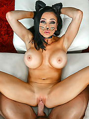 Audrey Bitoni devours a tasty cock at the Halloween party